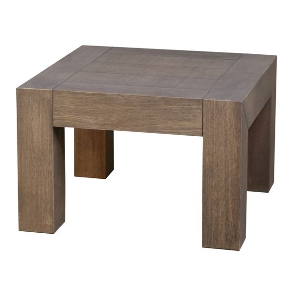 Table basse ch ne massif dounia gris brun carr e - Table basse chene gris ...
