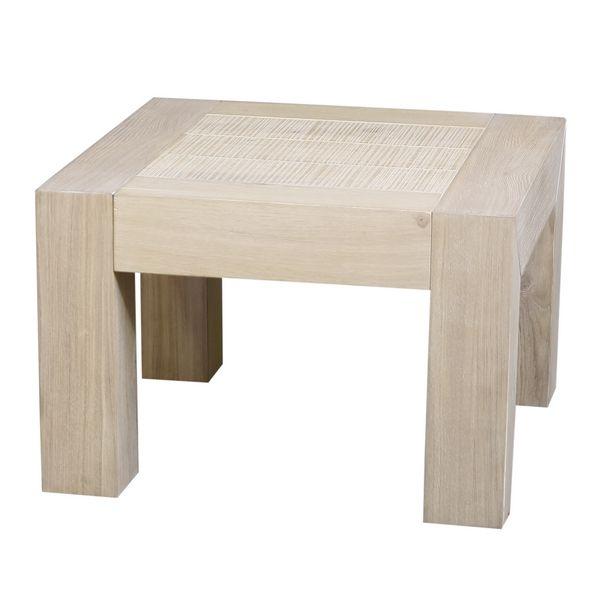 table basse ch ne massif dounia gris sable carr e. Black Bedroom Furniture Sets. Home Design Ideas