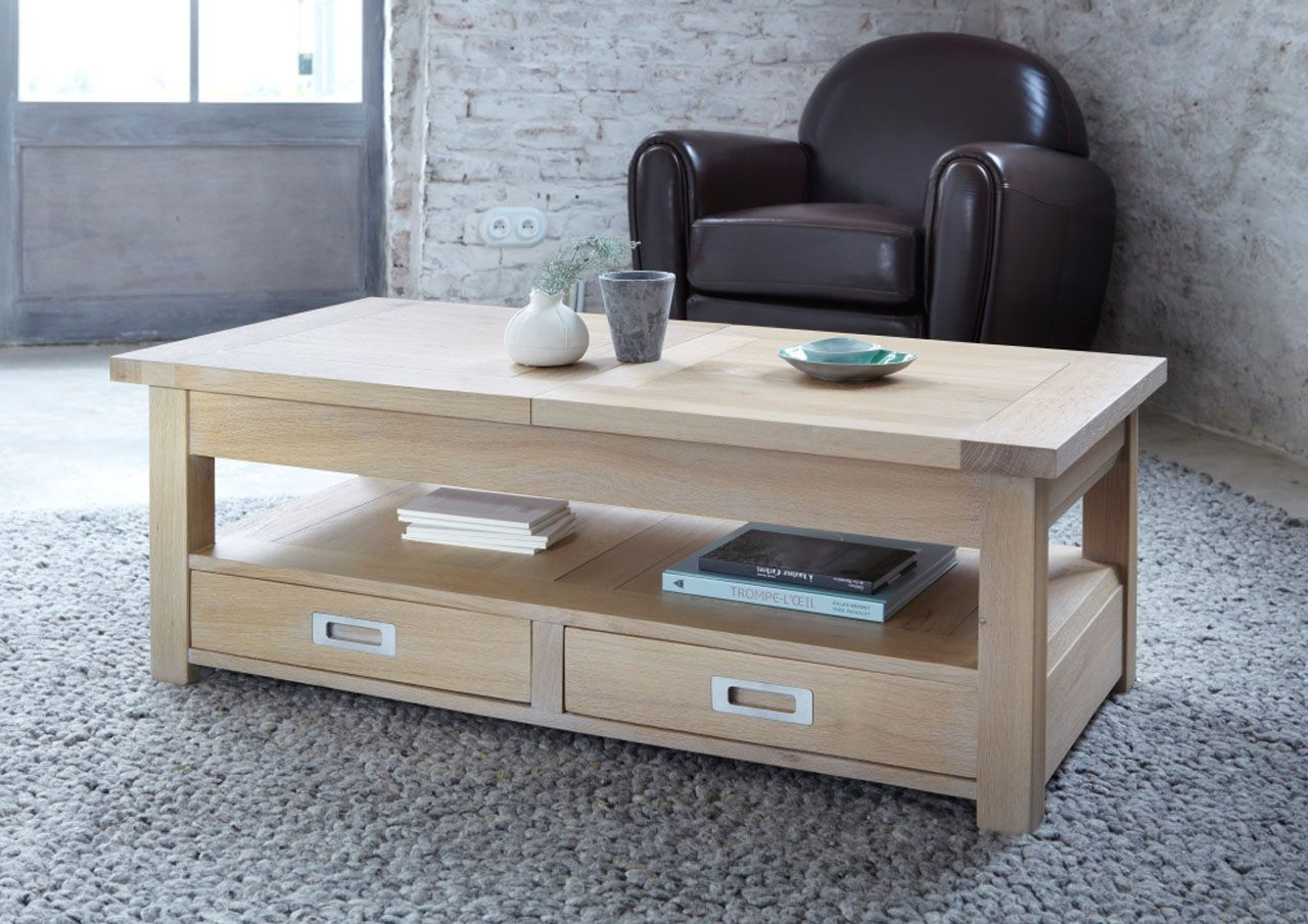 table basse ch ne naturel sabl 2 tiroirs rallonges toronto. Black Bedroom Furniture Sets. Home Design Ideas