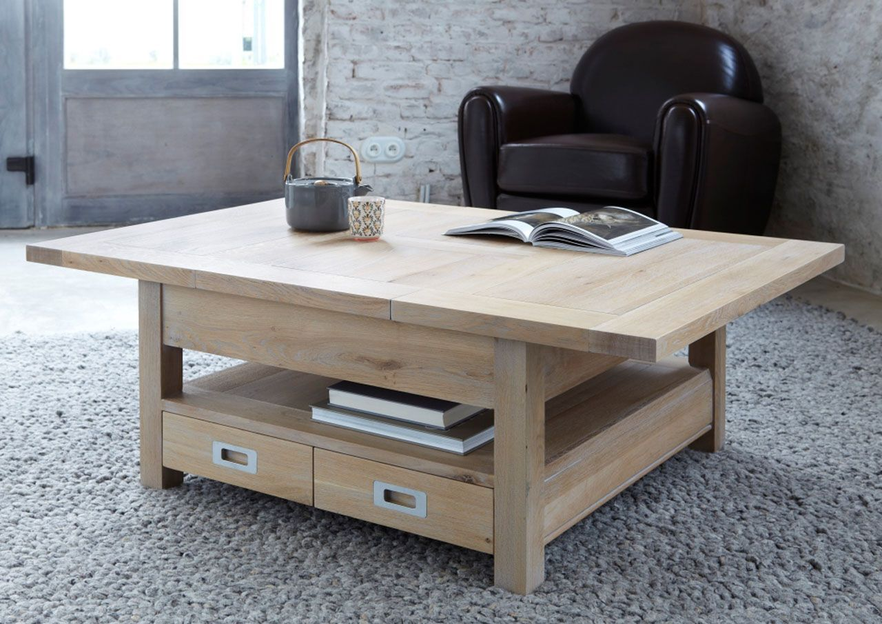 Table Basse Ch Ne Naturel Sabl 4 Tiroirs Rallonges Toronto