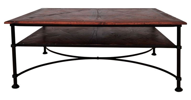Table basse fer forg bois recycl danny 114x61x50 for Table bois pied fer forge
