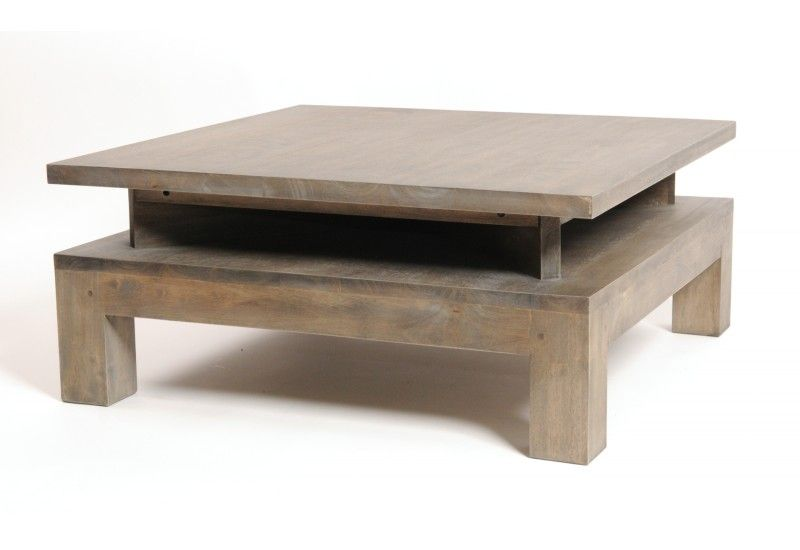 table basse h v a gris natural zen 2 plateaux. Black Bedroom Furniture Sets. Home Design Ideas