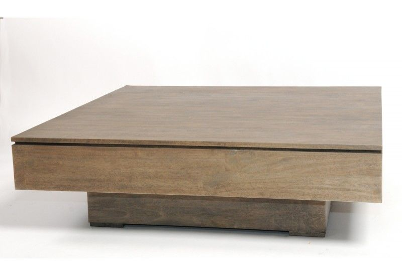 Table basse h v a gris rubber wood carr e - Table basse carree grise ...