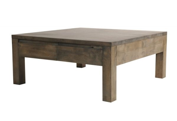 Table Basse H V A Massif Gris 4 Tiroirs