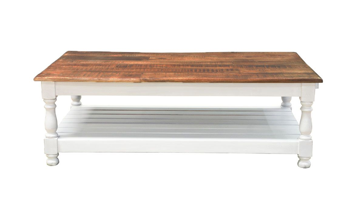 Table basse manguier Jeanne double plateau GM Blanc Naturel