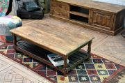 Table basse manguier Jeanne double plateau GM naturel