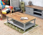 Table basse manguier Jeanne double plateau finition PM naturel/gris