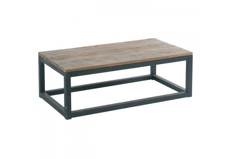 table basse m tal et bois factory h39. Black Bedroom Furniture Sets. Home Design Ideas