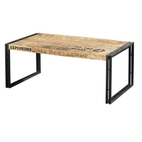 Table basse m tal et bois rectangulaire factory for Table metal et bois
