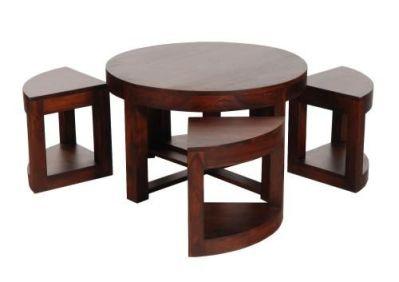 Table Basse Palissandre 4 Tabourets O 75 5 Mobilier Decotaime Fr