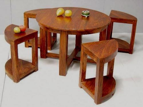 Table Basse Palissandre 4 Tabourets O 76 Mobilier Decotaime Fr