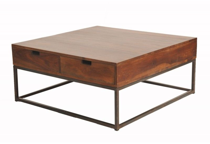 Table basse carree bois et fer forge - Table basse carree bois et fer forge ...
