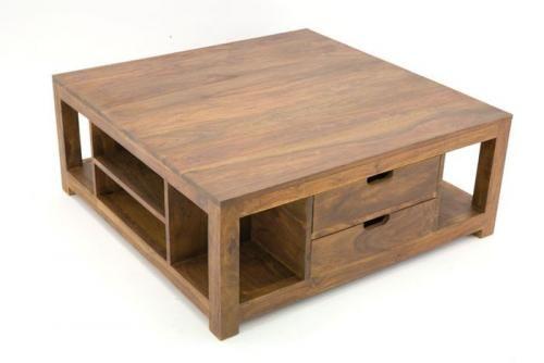 Table basse palissandre massif 2 tiroirs mobilier - Table en palissandre massif ...