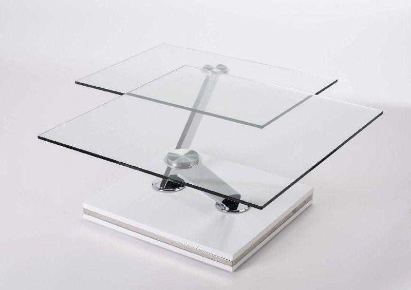 Table basse verre twix double plateaux - Table basse double plateau en verre ...