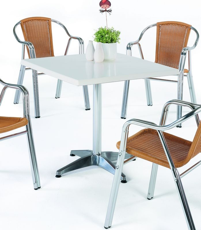 table bistrot alu brillant lesga carr e 70x70 cm meubles de jardin. Black Bedroom Furniture Sets. Home Design Ideas