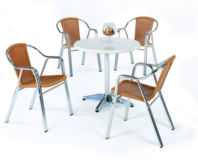table bistrot alu ronde lesga 80 cm meubles de jardin. Black Bedroom Furniture Sets. Home Design Ideas