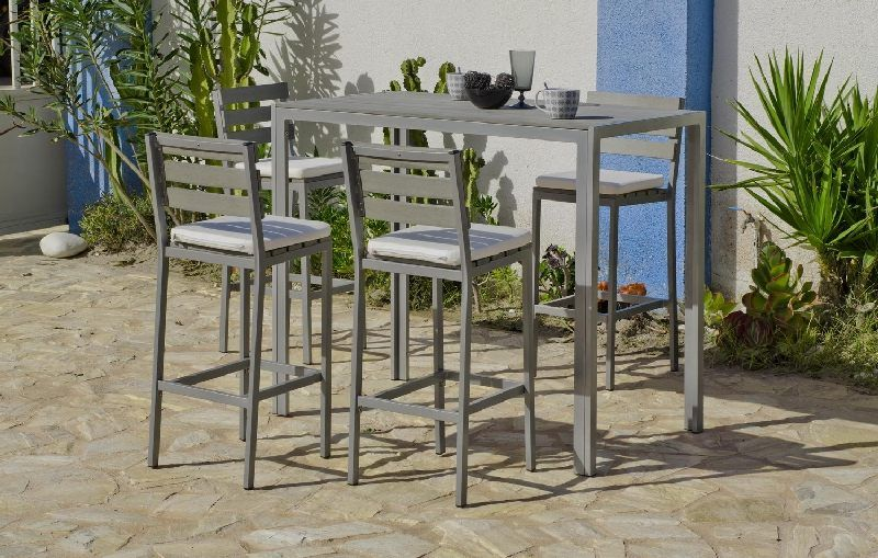 table de bar aluminium madeira rectangulaire 130x70 meubles de jardin. Black Bedroom Furniture Sets. Home Design Ideas