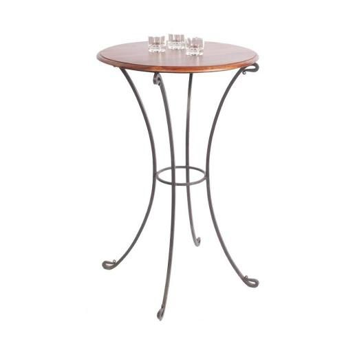 Table haute fer forg palissandre for Table bar haute bois