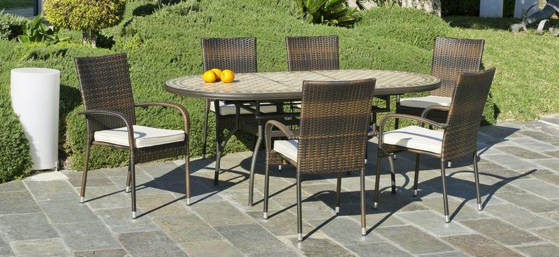 table ovale casanio mosaique couleur bronze 90x200x75 meubles de jardin. Black Bedroom Furniture Sets. Home Design Ideas