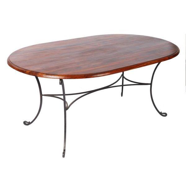 table ovale palissandre et fer forg mobilier. Black Bedroom Furniture Sets. Home Design Ideas