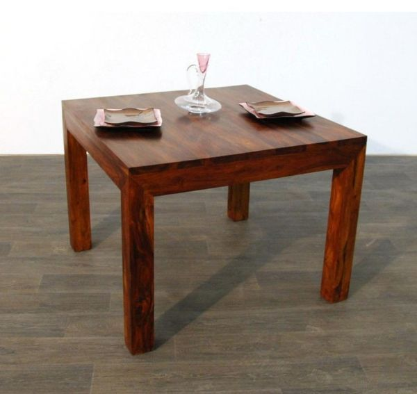 Table palissandre massif carr e hauteur 76 cm for Table en palissandre massif