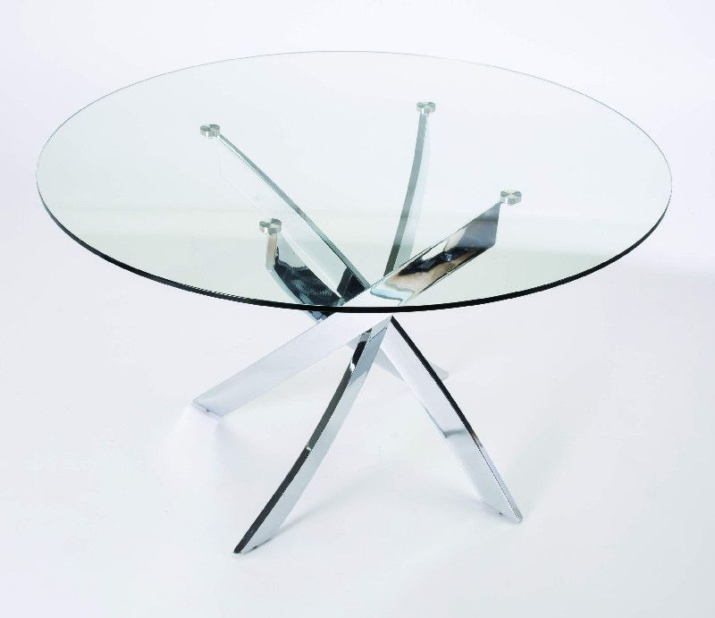 Table repas ronde verre jazz chrome mobilier - Table sejour en verre ...