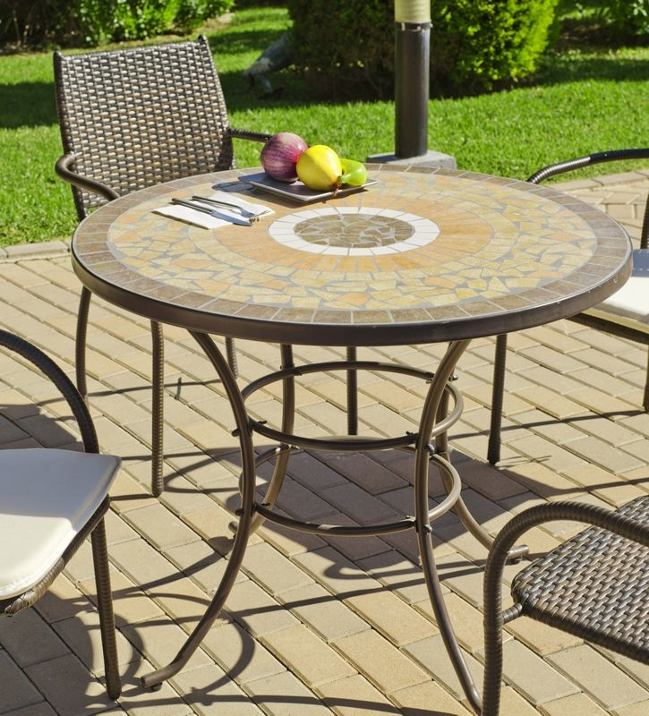 Table ronde mosaique Skipoles Ø 90 cm - Meubles de jardin | decotaime.fr