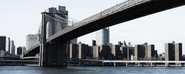 Tableau design toile pont de brooklyn 100x40 d coration - Toile pont de brooklyn ...