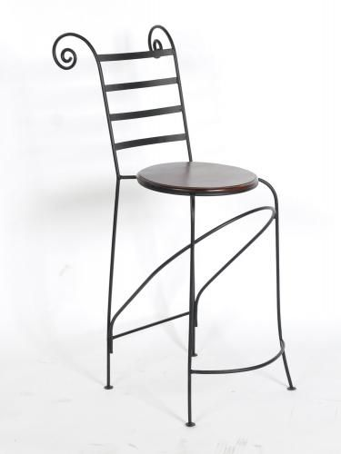 tabouret de bar fer forg et palissandre mobilier. Black Bedroom Furniture Sets. Home Design Ideas