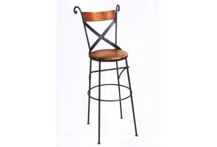 Tabouret de bar palissandre fer forg crois for Chaise de bar en fer forge