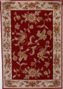 Tapis laine vierge 100% Lana frise floral grenat