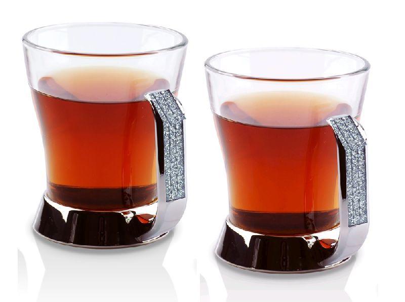 Set De 2 Tasses à Thé Verre Et Strass Luxe - Art De La Table