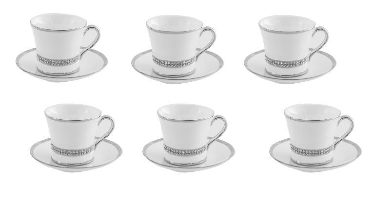set de 6 tasses caf porcelaine strass aulica. Black Bedroom Furniture Sets. Home Design Ideas