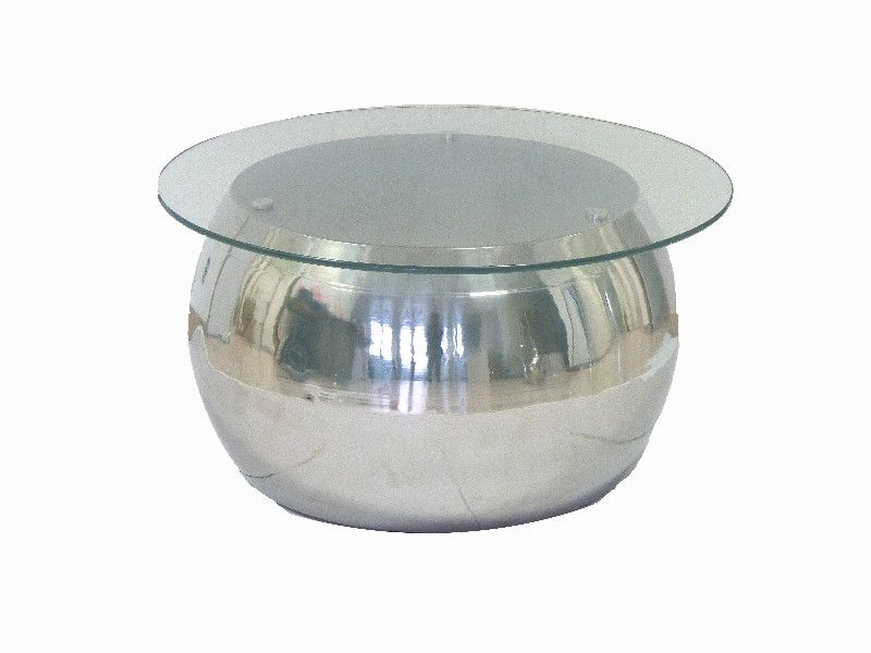 Table Basse Ronde Verre Pied M Tal Chrom 80 Aulica