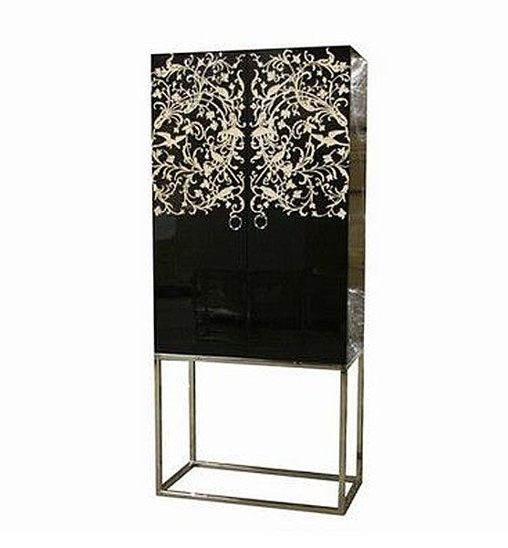 armoire laqu e bois et acier noir mobilier. Black Bedroom Furniture Sets. Home Design Ideas