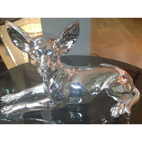 Bibelot r sine statuette chihuahua couch argent so skin for Bibelot de decoration