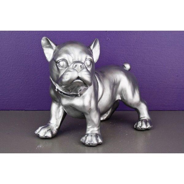 Bibelot tirelire statuette chien argent so skin for Bibelot decoration maison