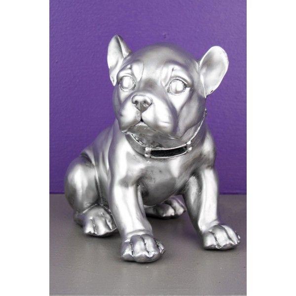 Bibelot tirelire statuette chien assis argent so skin for Bibelot de decoration