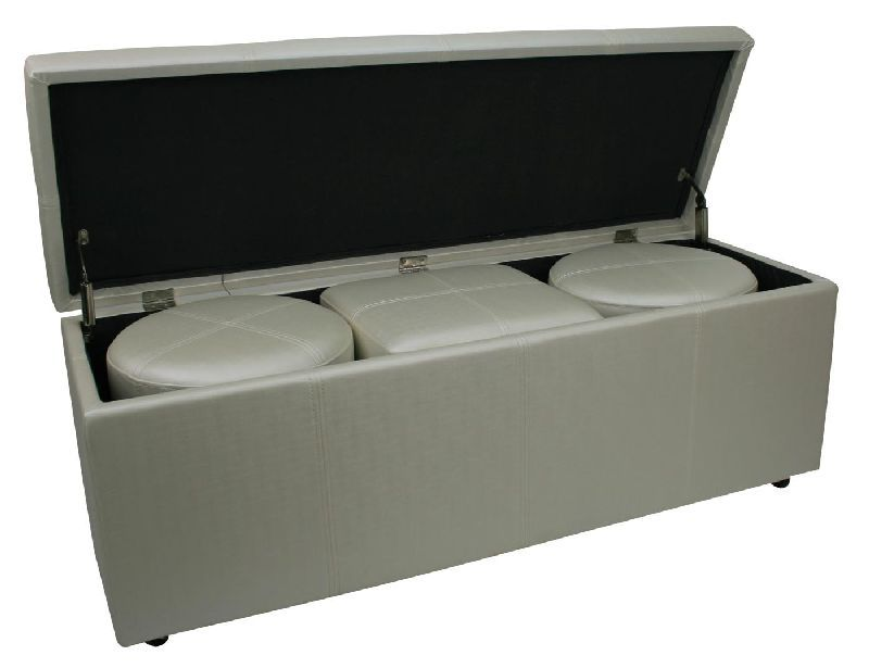 bout de lit coffre 3 poufs blanc aspect soie mobilier. Black Bedroom Furniture Sets. Home Design Ideas