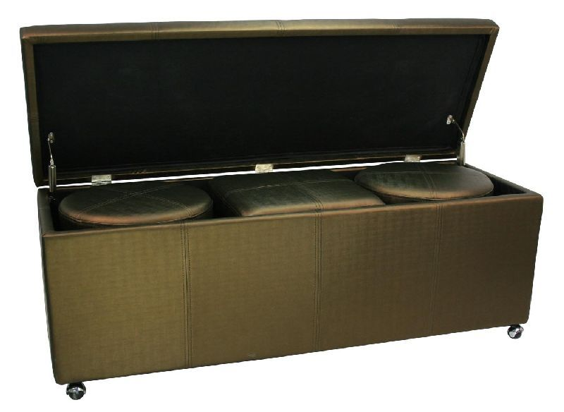 bout de lit coffre 3 poufs bronze aspect soie mobilier. Black Bedroom Furniture Sets. Home Design Ideas