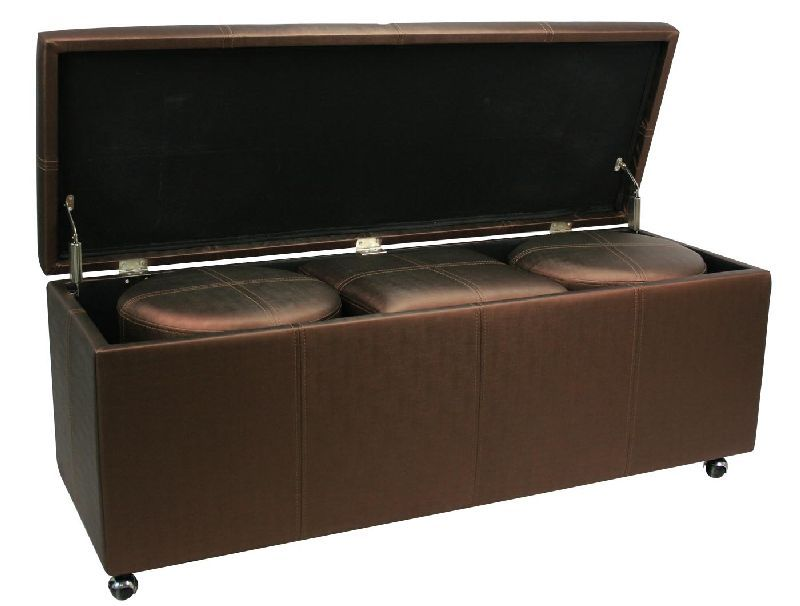 bout de lit coffre 3 poufs violet aspect soie so skin. Black Bedroom Furniture Sets. Home Design Ideas