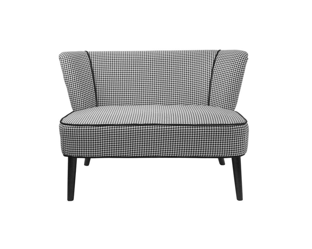 canap 2 places tissu vence pied de poule ray noir blanc so skin. Black Bedroom Furniture Sets. Home Design Ideas