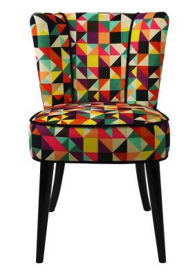 Chaise Tissu Motifs Triangles Multicolores