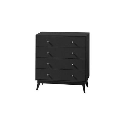commode 4 tiroirs sur pieds noir aspect autruche poign es bouton mobilier. Black Bedroom Furniture Sets. Home Design Ideas
