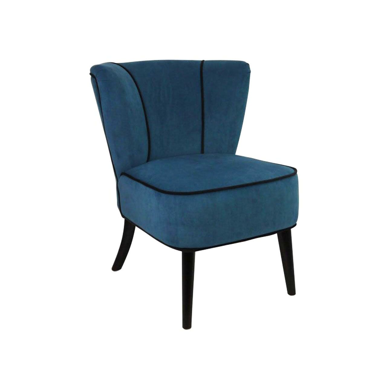 fauteuil crapaud bleu p trole aspect velours so skin. Black Bedroom Furniture Sets. Home Design Ideas