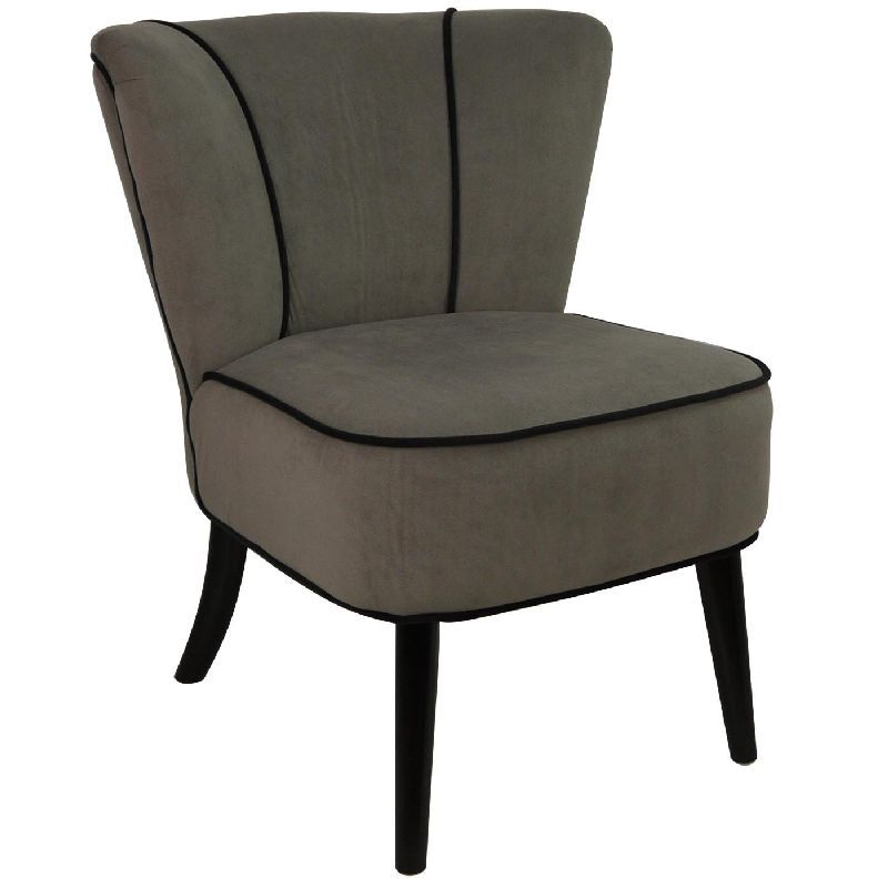 fauteuil crapaud gris taupe aspect velours mobilier. Black Bedroom Furniture Sets. Home Design Ideas