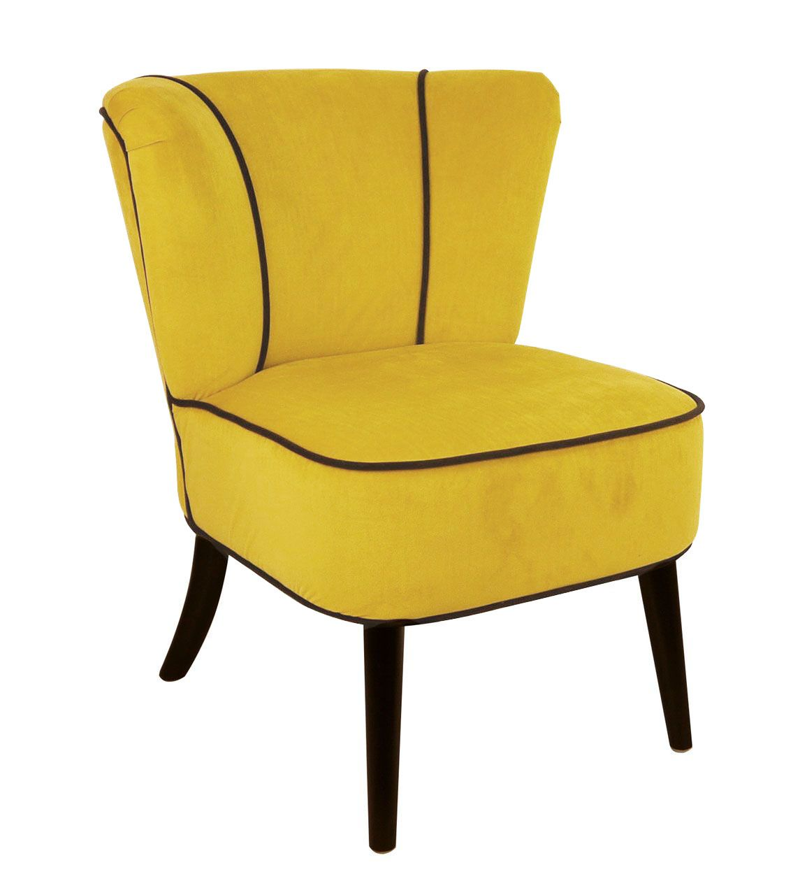 fauteuil crapaud jaune aspect velours so skin. Black Bedroom Furniture Sets. Home Design Ideas