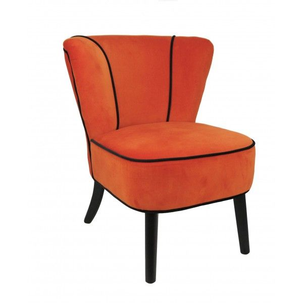 fauteuil crapaud orange aspect velours mobilier. Black Bedroom Furniture Sets. Home Design Ideas
