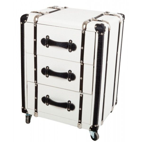 meuble de chevet style malle 3 tiroirs blanc mobilier. Black Bedroom Furniture Sets. Home Design Ideas