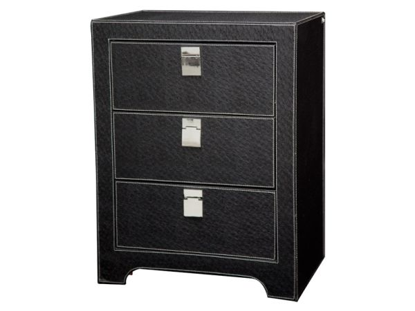 meuble de rangement so skin aspect autruche noir. Black Bedroom Furniture Sets. Home Design Ideas